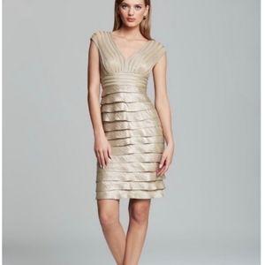 Adrianna Papell Gold Tiered Ruffle sheath dress 14